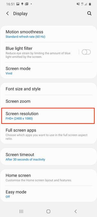 galaxy s20 ultra tips tricks settings screen res setting 1