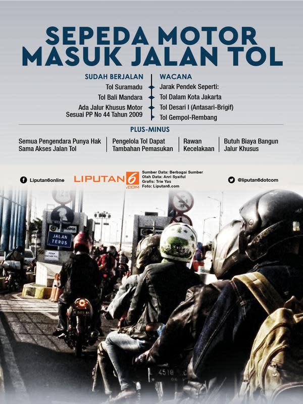 Infografis Sepeda Motor Masuk Jalan Tol. (Liputan6.com/Triyasni)