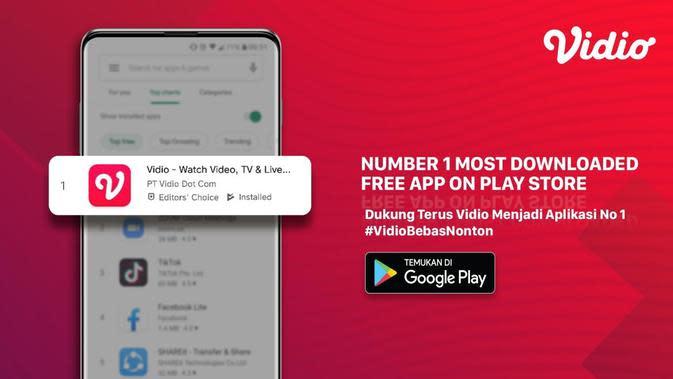 Vidio menjadi aplikasi nomor satu paling banyak diunduh di Play Store. (Sumber: Dok. Vidio).