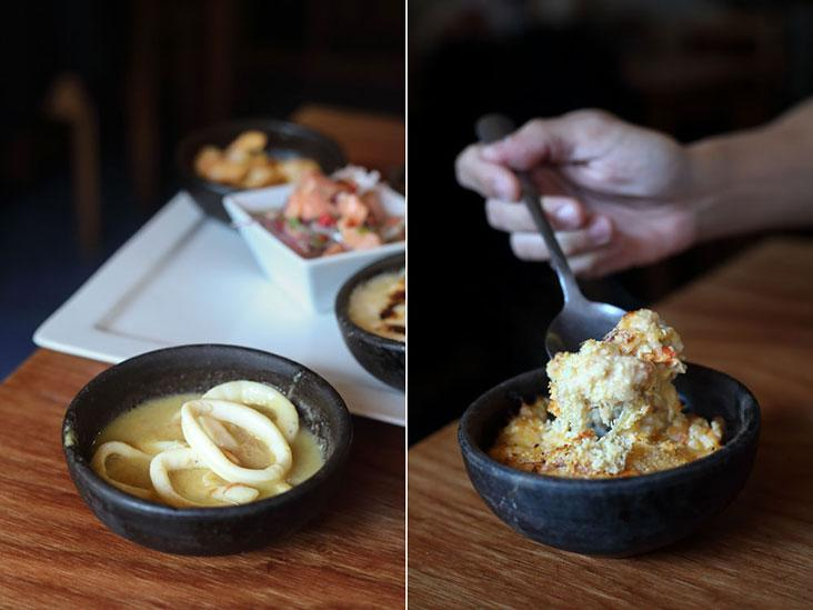 Garlicky squid (left) and La Luna's signature 'Chupe de Centollas' made from king crab (right).