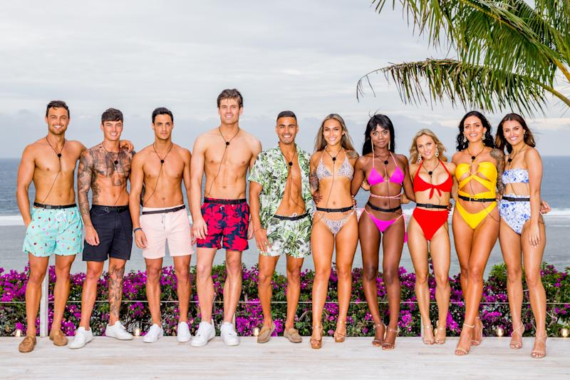 The Love Island Australia 2019 cast are shown by the villa's pool and are single and ready to mingle.