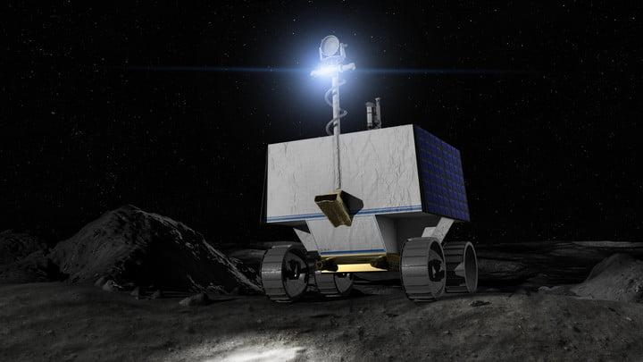 Illustration of NASA's Volatiles Investigating Polar Exploration Rover (VIPER) on the surface of the Moon