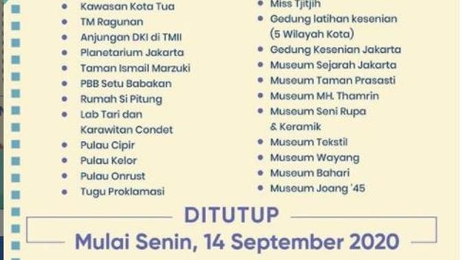 DKI Jakarta Kembali Terapkan PSBB, 27 Tempat Wisata Tutup Sementara. (dok.Instagram @aniesbaswedan/https://www.instagram.com/p/CFD6faHgCgD/Henry)