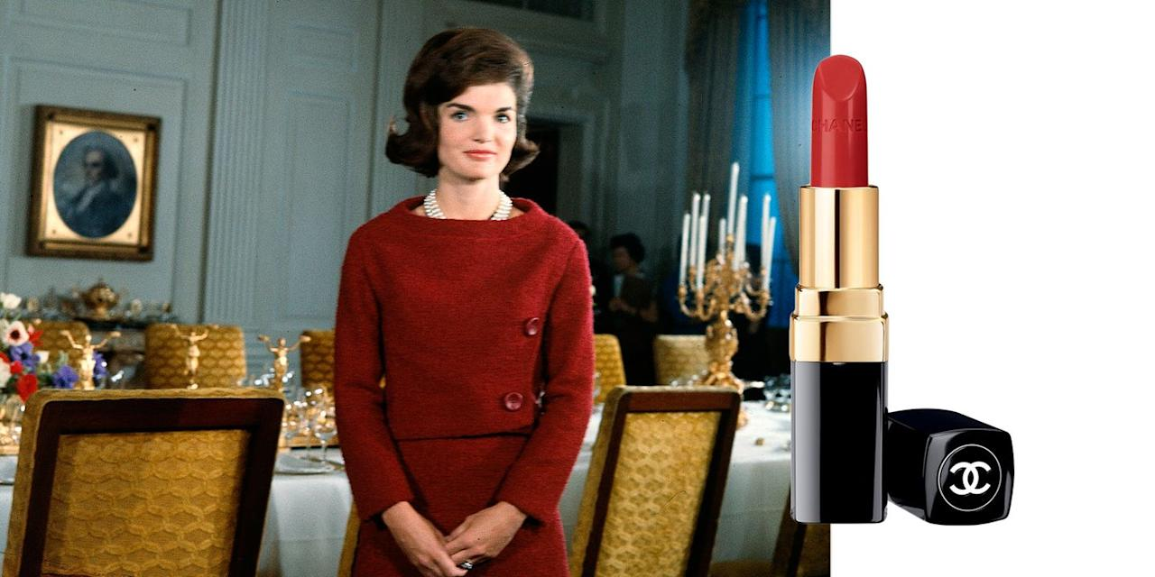 """<p>Despite her otherwise minimal makeup, Kennedy<span class=""""redactor-invisible-space""""></span> never shied away from bright lipstick, and often matched her pout to the exact shade of red or pink that she was wearing. Try pairing a classic red dress with <a href=""""http://shop.nordstrom.com/s/chanel-rouge-coco-ultra-hydrating-lip-colour/3960978"""" target=""""_blank"""">Chanel's Rouge Coco Lipstick in 'Gabrielle'</a> <span>to give the trend a try.</span><span class=""""redactor-invisible-space""""></span></p><p><a class=""""body-btn-link"""" href=""""https://go.redirectingat.com?id=74968X1596630&url=https%3A%2F%2Fshop.nordstrom.com%2Fs%2Fchanel-rouge-coco-ultra-hydrating-lip-colour%2F3960978&sref=https%3A%2F%2Fwww.goodhousekeeping.com%2Flife%2Fentertainment%2Fg33481959%2Fjackie-kennedy-beauty-tips%2F"""" target=""""_blank"""">SHOP NOW</a><em>Chanel Rouge Coco Ultra Hydrating Lip Colour, $37</em></p>"""