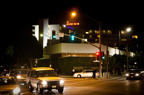 A view of the Beverly Hilton hotel in Beverly Hills, Calif. Saturday, Feb. 11, 2012. Whitney Houston was pronounced dead at 3:55 p.m. in her room on the fourth floor of the hotel on Saturday. She was 48. (AP Photo/Bret Hartman)