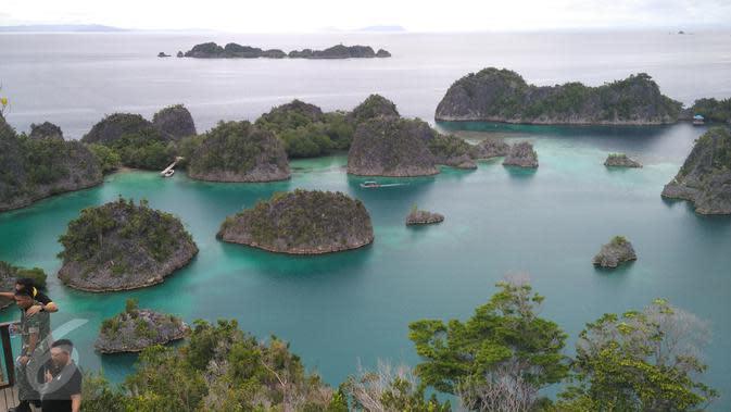 Pengunjung berada di Pulau Piaynemo di Kabupaten Raja Ampat, Papua Barat. Pulau Piaynemo juga sering disebut sebagai Pulau Wayag kecil. (Liputan6.com/Zulfi Suhendra)