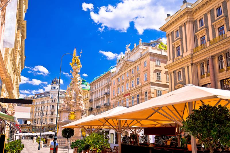 Historic architecture square in Vienna view, capital of Austria
