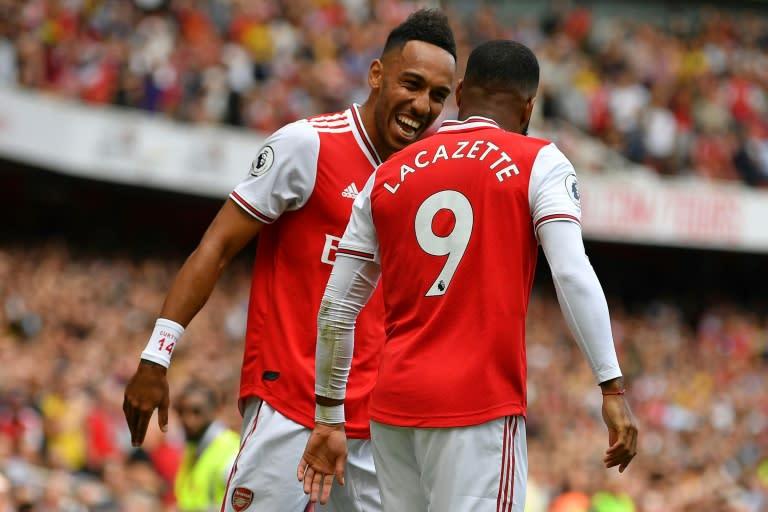 Arsenal forwards Alexandre Lacazette (right) and Pierre-Emerick Aubameyang