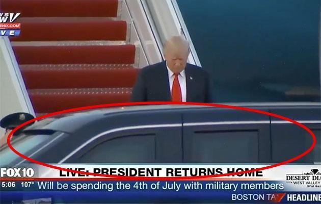 Somehow Trump doesn't see the car parked right in front of him. Photo: Fox News