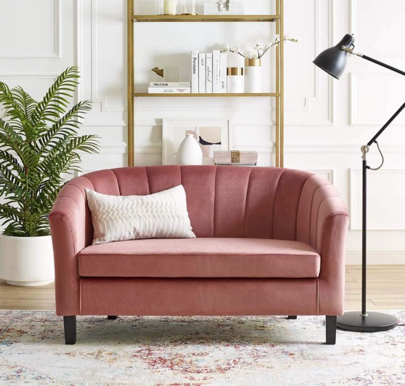 Modway Channel Tufted Upholstered Velvet Loveseat Pink (Photo via Amazon)