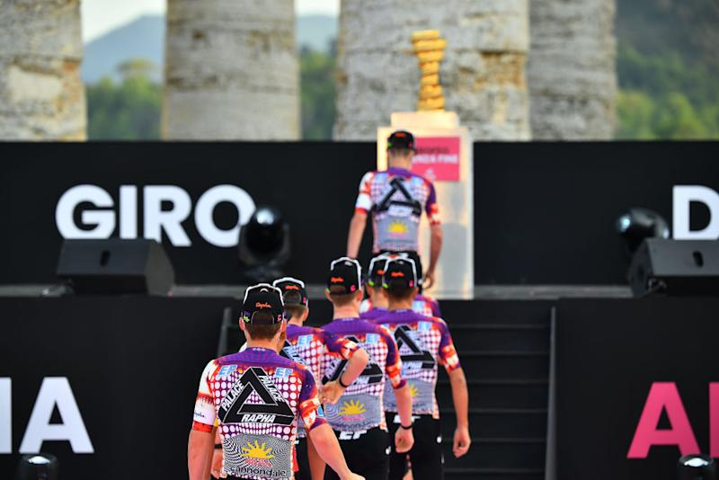 PALERMO ITALY OCTOBER 01 Sean Bennett of The United States and Team EF Pro Cycling EF Pro Cycling special Rapha x Palace Skateboards during the 103rd Giro dItalia 2020 Team Presentation in Archaeological Park of Segesta in Palermo City Temple of Segesta girodiitalia Giro on October 01 2020 in Palermo Italy Photo by Stuart FranklinGetty Images