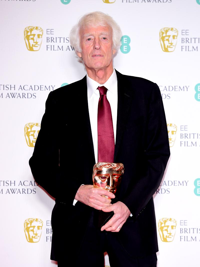 Roger Deakins with his award for Cinematography for 1917 in the press room at the 73rd British Academy Film Awards held at the Royal Albert Hall, London. (Photo by Ian West/PA Images via Getty Images)