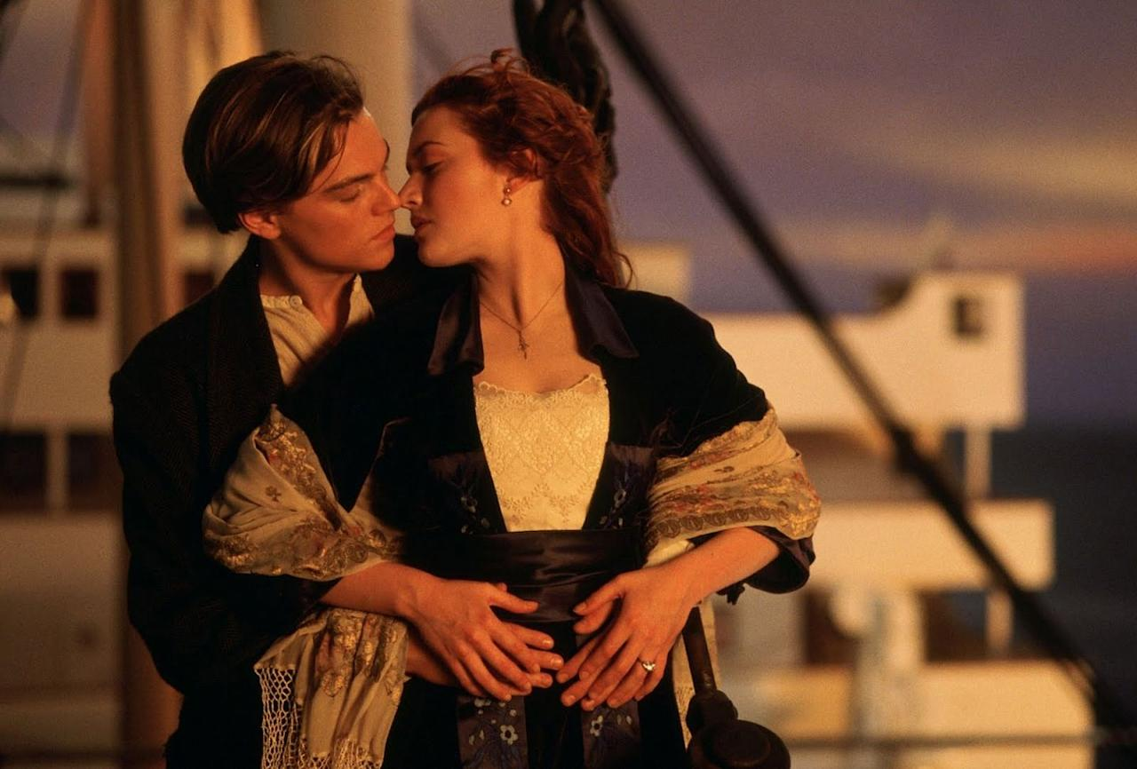 <p>Our hearts will forever go on. Rose (Kate Winslet) and Jack (Leonardo DiCaprio) share a tender and private kiss on the bow of the ship in <em>Titanic</em>, released in 1997. </p>