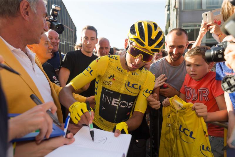 2019 Tour de France winner Egan Bernal (Team Ineos) signs autographs for fans at the 2019 Natourcriterium Aalst post-Tour criterium