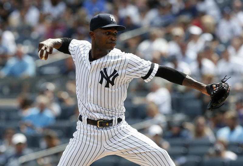 NEW YORK, NEW YORK - AUGUST 31: Domingo German #55 of the New York Yankees in action against the Oakland Athletics at Yankee Stadium on August 31, 2019 in New York City. The Yankees defeated the A's 4-3 in eleven innings. (Photo by Jim McIsaac/Getty Images)
