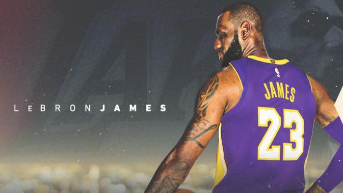 LeBron James memilih mengenakan nomor punggung 23 di tim barunya, LA Lakers. (NBA)