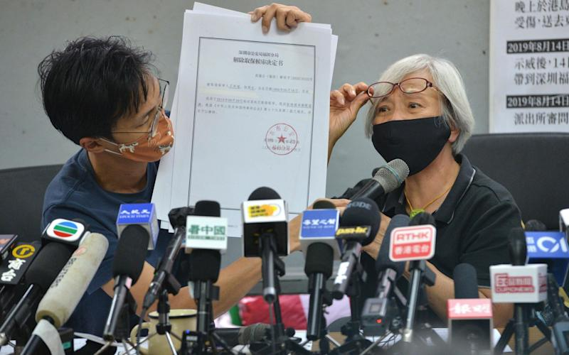 Alexandra Wong at the press conference - PETER PARKS/AFP via Getty Images