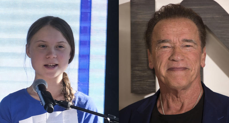Greta Thunberg and Arnold Schwarzenegger shared a bike ride. (Photo: Joel C Ryan/Invision/AP)