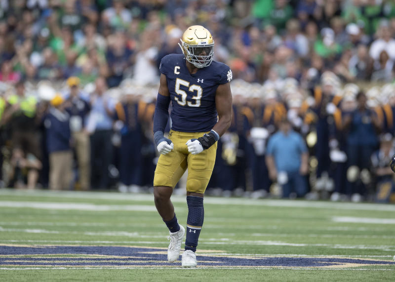 SOUTH BEND, IN - SEPTEMBER 28: Notre Dame Fighting Irish defensive lineman Khalid Kareem (53) celebrates after a play in action during a game between the Notre Dame Fighting Irish and the Virginia Cavaliers on September 28, 2019 at Notre Dame Stadium in South Bend, IN. (Photo by Robin Alam/Icon Sportswire via Getty Images)