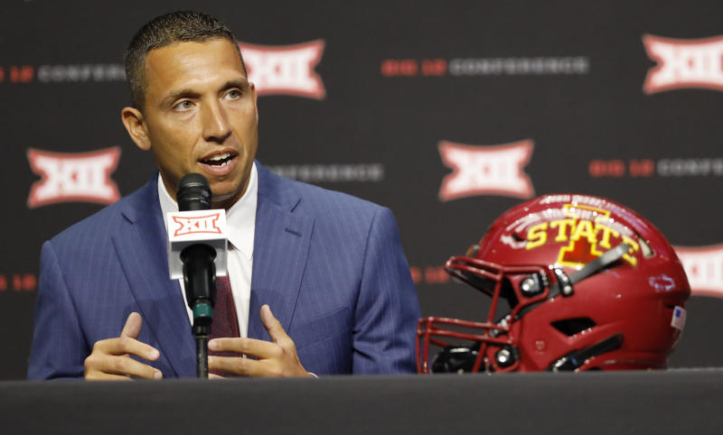 Iowa State head coach Matt Campbell speaks during Big 12 Conference NCAA college football media day Tuesday, July 16, 2019, at AT&T Stadium in Arlington, Texas. (AP Photo/David Kent)