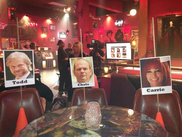 Our seating arrangement for the live show. How hilarious is this?