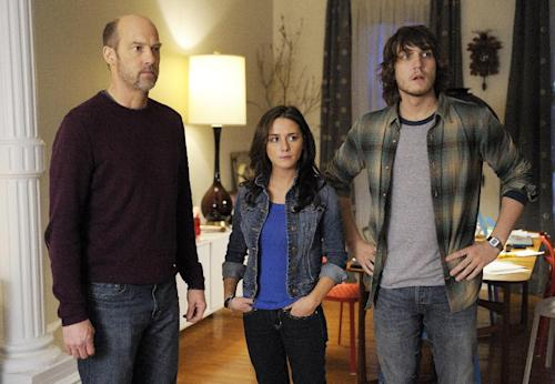 """This TV image released by ABC shows Anthony Edwards, left, Addison Timlin and Scott Michael Foster in a scene from """"Zero Hour."""" Edwards plays Hank Galliston, a magazine publisher who descends into an historical mystery after his wife is kidnapped. """"Zero Hour,"""" premieres Feb. 14, 2013 on ABC. (AP Photo/ABC, Phillippe Bosse)"""