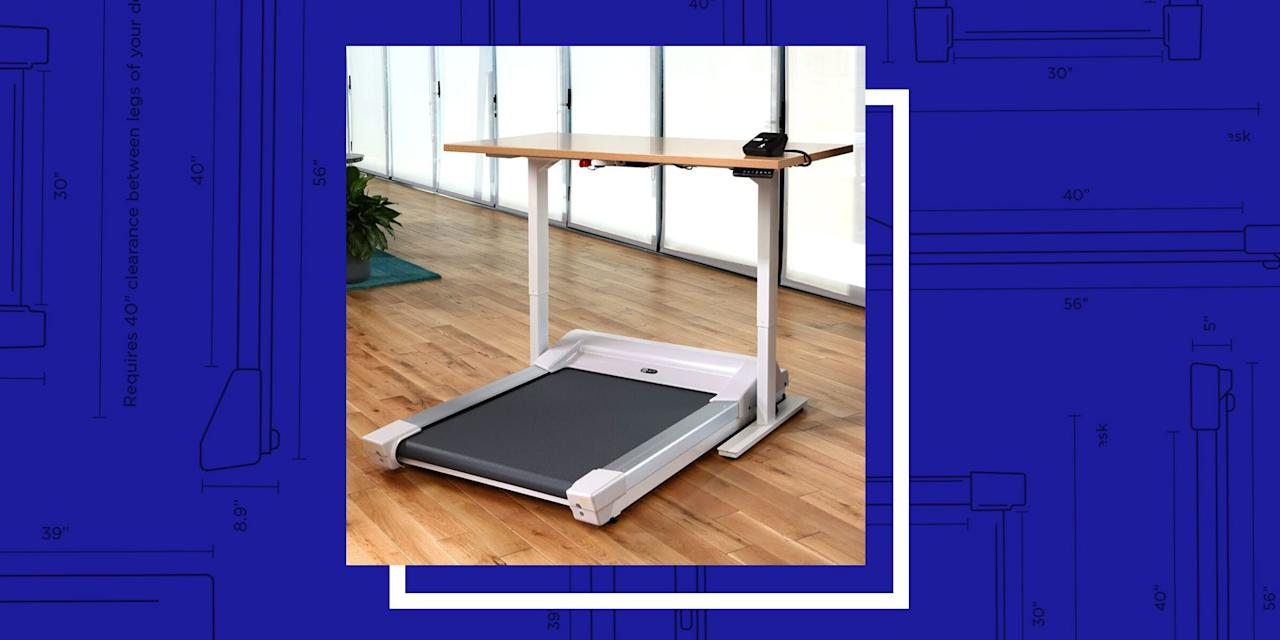 "<p>Spend most of your day at a desk? We feel your pain (literally). Let's make sitting while working a thing of the past. Sure, a <a href=""https://www.bestproducts.com/home/decor/g3141/best-standing-desks/"" target=""_blank"">standing desk</a> is great for improving your posture, but those won't help you get any closer to your goal of 10,000 steps every day. With a treadmill desk, you can walk and burn calories while you work.</p><p>Dan Gaz, a physical activity and assessment program manager at the <a href=""https://healthyliving.mayoclinic.org/"" target=""_blank"">Mayo Clinic Healthy Living Program</a> in Rochester, Minnesota, <a href=""https://www.forbes.com/sites/jamiegold/2018/08/27/should-you-get-a-treadmill-desk-and-how-to-plan-for-it/#70dc21c05f25"" target=""_blank"">told <em>Forbes</em></a> that treadmill desks are a great way to incorporate more movement into normally sedentary situations, adding that ""your low metabolism may be caused by your job, rather than your genes."" Exercise <a href=""https://www.nytimes.com/2019/05/01/well/move/how-exercise-affects-our-memory.html?smid=nytcore-ios-share"" target=""_blank"">has also been proven</a> to increase the production of neurochemicals and boost neuron numbers to improve memory and thinking abilities.</p><p>A treadmill desk is the perfect solution to help you achieve more movement throughout your workday. When you're shopping for one, keep in mind that you can mix and match components. As long as your standing desk has a high clearance and no cross bars for added support, chances are it'll work with an under-the-desk treadmill.</p><p>To make your search easier, we've listed our favorite under-desk treadmills. It's worth mentioning that few include the treadmill <em>and</em> the desk, so you may need to pick and choose depending on your needs and budget.</p><h3 class=""body-h3"">Best Treadmill Desks</h3><p><em>A note on availability: Due to increased demand, some of these products may fluctuate between in and out of stock. We will be frequently checking and refreshing the links to these products as they become available again.</em></p><ul><li><strong>Best Overall:</strong> <a href=""https://www.inmovement.com/products/unsit-treadmill-desk-bundle"" target=""_blank"">Unsit Treadmill Desk</a></li><li><strong>A Sleek, Folding-Under-Desk Treadmill:</strong> <a href=""https://www.amazon.com/dp/B07SJCZLPQ?tag=syn-yahoo-20&ascsubtag=%5Bartid%7C2089.g.919%5Bsrc%7Cyahoo-us"" target=""_blank"">WALKINGPAD A1 Smart Desk Treadmill</a></li><li><strong>A Reliable Whisper-Quiet Model:</strong> <a href=""https://www.amazon.com/dp/B009QHLWUK?tag=syn-yahoo-20&ascsubtag=%5Bartid%7C2089.g.919%5Bsrc%7Cyahoo-us"" target=""_blank"">LifeSpan TR1200-DT3 Under Desk Treadmill</a></li><li><strong><strong>Best for Running: </strong></strong><a href=""https://www.amazon.com/dp/B07S5969LB?tag=syn-yahoo-20&ascsubtag=%5Bartid%7C2089.g.919%5Bsrc%7Cyahoo-us"" target=""_blank"">RHYTHM FUN Desk Treadmill</a></li><li><strong><strong>A Budget-Friendly Under-the-Desk Treadmill:</strong></strong><strong> </strong><a href=""https://www.amazon.com/dp/B08GH4NFDH?tag=syn-yahoo-20&ascsubtag=%5Bartid%7C2089.g.919%5Bsrc%7Cyahoo-us"" target=""_blank"">Goplus 2-in-1 Folding Treadmill</a></li><li><strong>Best for Storing Upright:</strong> <a href=""https://www.amazon.com/dp/B08CNCY4J1?linkCode=ogi&tag=syn-yahoo-20&ascsubtag=%5Bartid%7C2089.g.919%5Bsrc%7Cyahoo-us"" target=""_blank"">UMAY Portable Treadmill</a><br></li><li><strong>The One That Comes <em>With</em> a Desk: </strong><a href=""https://www.amazon.com/dp/B08J7LBPQQ?linkCode=ogi&tag=syn-yahoo-20&ascsubtag=%5Bartid%7C2089.g.919%5Bsrc%7Cyahoo-us"" target=""_blank"">FUNMILY Treadmill Desk</a><strong></strong><br></li><li><strong>Best Safety Features</strong><strong>: </strong><a href=""https://www.amazon.com/dp/B07ZQSWW43?linkCode=ogi&tag=syn-yahoo-20&ascsubtag=%5Bartid%7C2089.g.919%5Bsrc%7Cyahoo-us"" target=""_blank"">Sunny Health & Fitness Walkstation</a> </li></ul><p>Make one of our picks your new workspace, whether at home or in the office, to increase your activity (and productivity) levels every day.</p>"