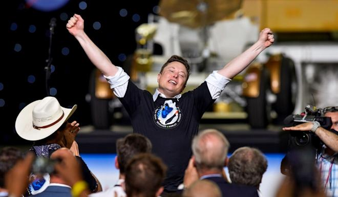 Space Exploration Technologies Corp chief executive Elon Musk celebrates after the launch of a SpaceX Falcon 9 rocket on May 30. Photo: Reuters