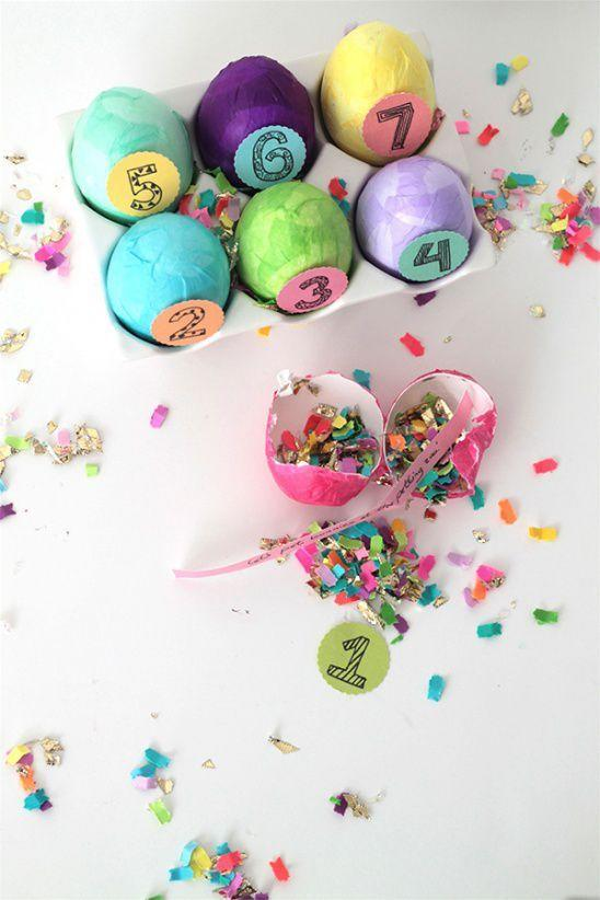 """<p>The kids can start counting down the days until Easter Sunday with these confetti-filled eggs. Each one contains a slip of paper with a fun activity written on it.</p><p>Get the tutorial at <a href=""""http://www.kollabora.com/projects/confetti-eggs-advent-calendar"""" target=""""_blank"""">Kollaborra</a>.  </p><p><strong>What you'll need:</strong> Paper mache eggs <a class=""""body-btn-link"""" href=""""https://www.amazon.com/Darice-6-Piece-Paper-Mache-2-5-Inch/dp/B0033P73WM/ref=sr_1_1?tag=syn-yahoo-20&ascsubtag=%5Bartid%7C10057.g.4240%5Bsrc%7Cyahoo-us"""" target=""""_blank"""">BUY NOW</a></p><p>Tissue paper  <a class=""""body-btn-link"""" href=""""https://www.amazon.com/ArtVerse-100-Piece-Tissue-26-Inch-Assorted/dp/B00FF93ZF8/ref=sr_1_4?tag=syn-yahoo-20&ascsubtag=%5Bartid%7C10057.g.4240%5Bsrc%7Cyahoo-us"""" target=""""_blank"""">BUY NOW</a></p>"""