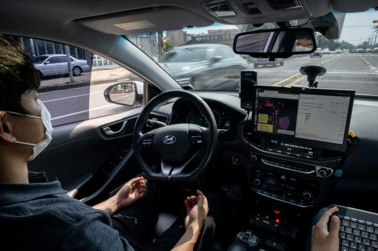 Under South Korean law a safety driver has to sit at the wheel to intervene if necessary