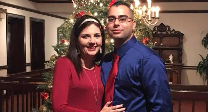 Danielle Leigh (left) and Josh Trevillian (right) in a Christmas photo