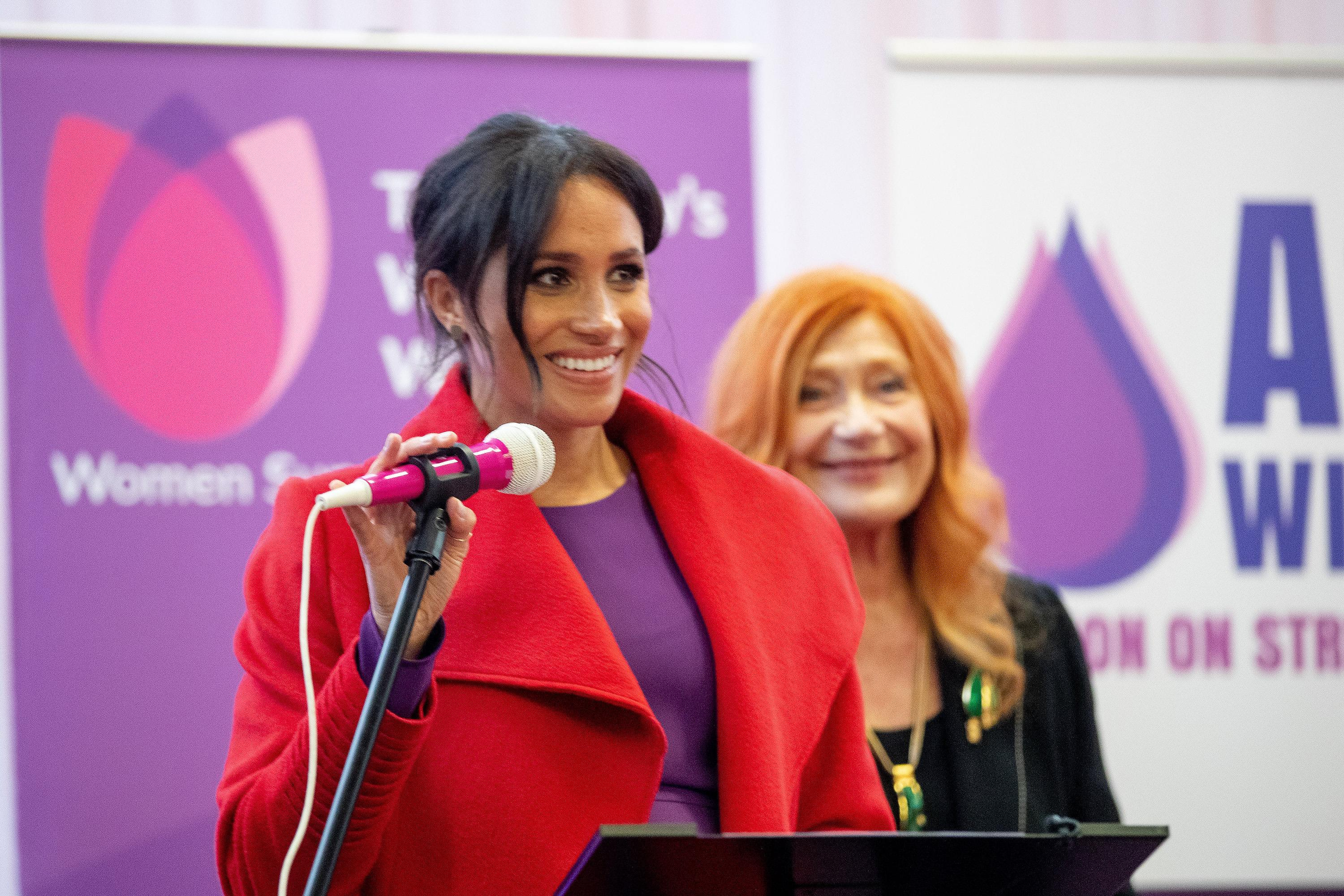 BIRKENHEAD, ENGLAND - JANUARY 14: Meghan, Duchess of Sussex visits 'Tomorrow's Women Wirral' Charity on January 14, 2019 in Birkenhead, United Kingdom. (Photo by Charlotte Graham - WPA Pool/Getty Images)