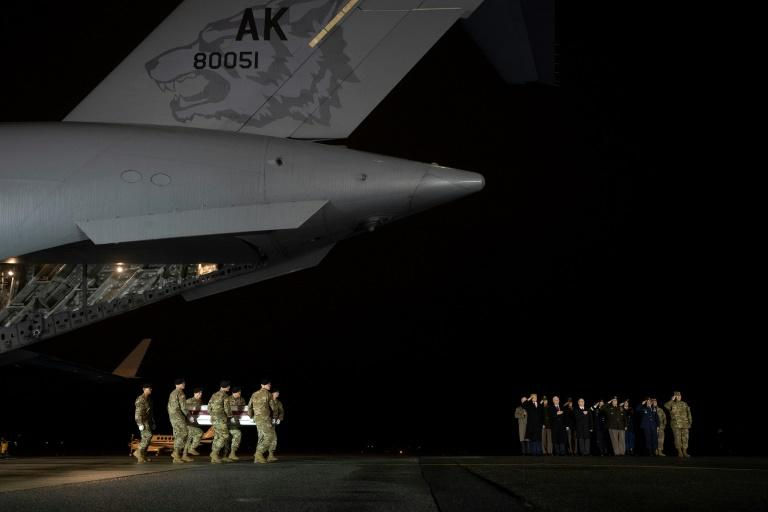 The Taliban said home-made explosives accounted for most of the casualties among US forces; this photo from February 10, 2020 shows troops at Dover Air Force Base in Delaware carrying the coffin of a soldier killed in Afghanistan