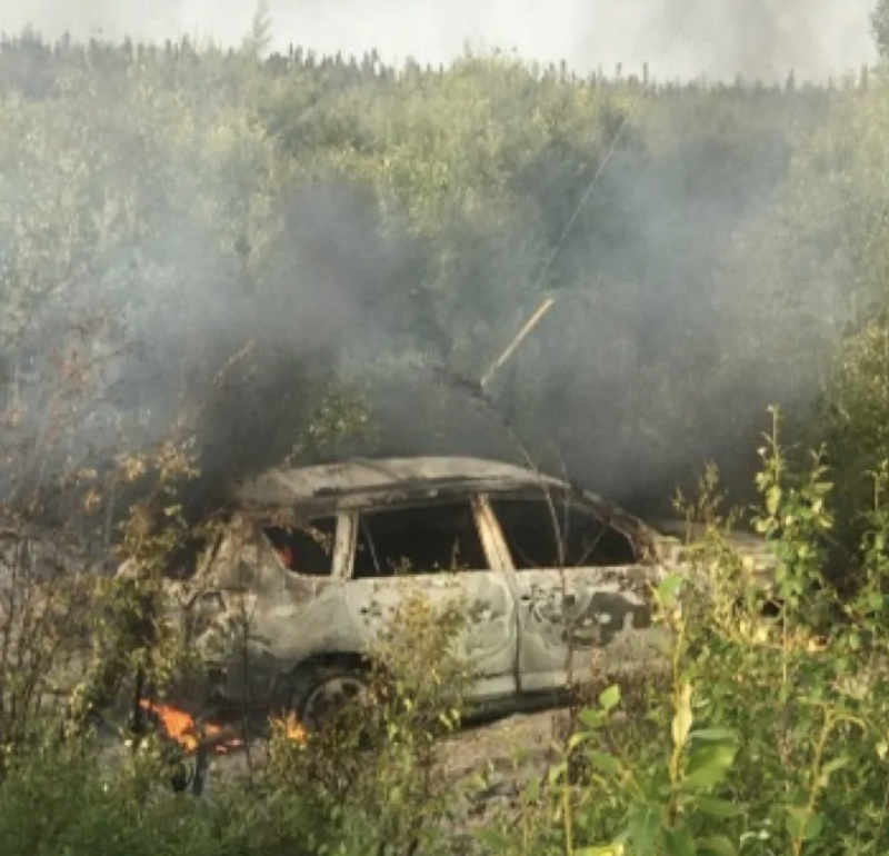 The car Bryer Schmegelsky and his co-accused Kam McLeod were travelling in was found torched 55km from the remote town of Gillam.