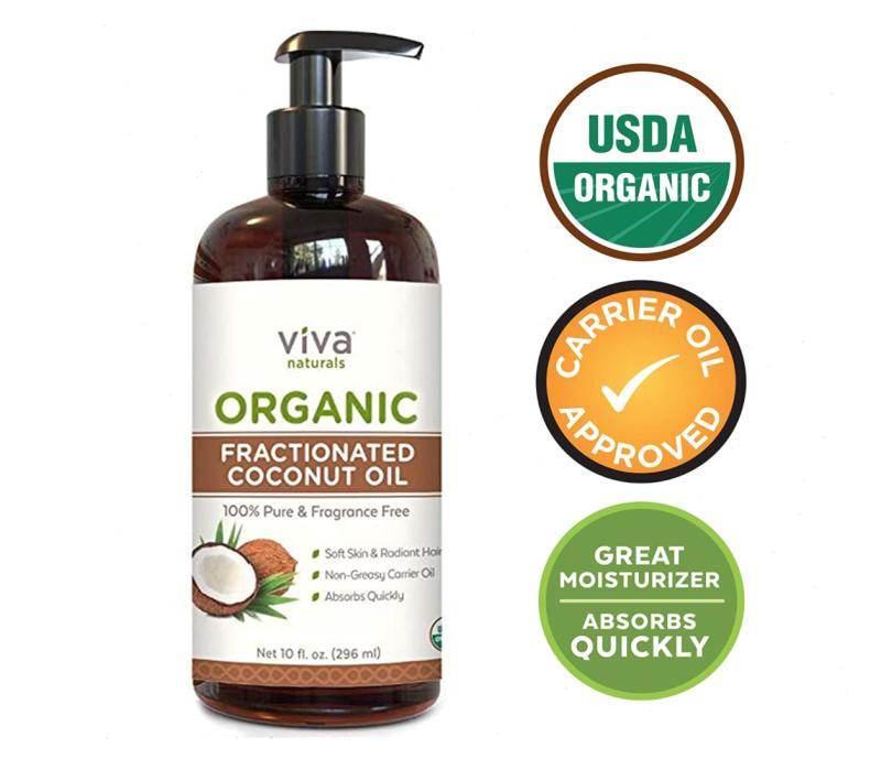 Viva Naturals Organic Fractionated Coconut Oil. Image via Amazon.