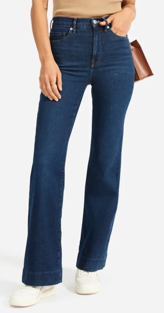 Everlane Modern Flare Jean in Dark Blue Wash