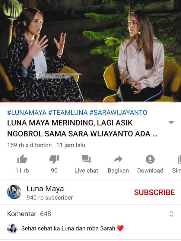 Unggahan Luna Maya. (Foto: YouTube Luna Maya)