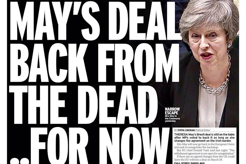 The Daily Mirror warns the EU has said the terms of the Withdrawal Agreement are not negotiable
