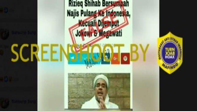Habib Rizieq Sumpah Najis Pulang kecuali Dijemput Jokowi, Cek Faktanya