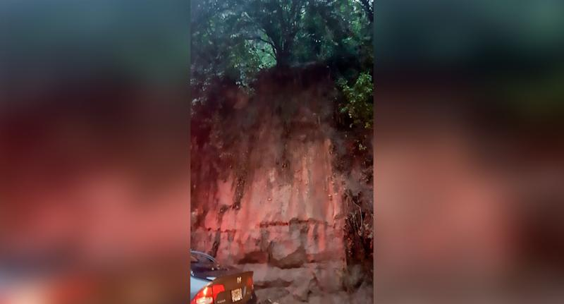 The boulder fell off a cliff top (pictured) in Guatemala