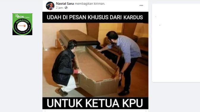 Cek Fakta Liputan6.com menelusuri klaim foto peti mati dari kardus untuk ketua KPU