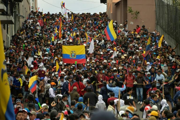 The protestors are demanding Moreno reinstate fuel subsidies that were rescinded after $4.2 billion in loans was agreed with the IMF
