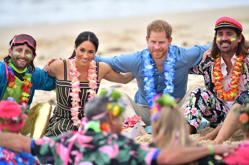 Prince Harry and Meghan Markle meet with surfing group OneWave, an organisation raising awareness for mental health.