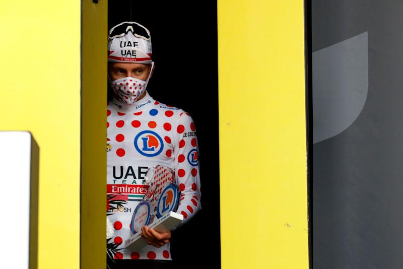 LA PLANCHE FRANCE SEPTEMBER 19 Podium Tadej Pogacar of Slovenia and UAE Team Emirates Polka Dot Mountain Jersey Celebration during the 107th Tour de France 2020 Stage 20 a 362km Individual Time Trial stage from Lure to La Planche Des Belles Filles 1035m ITT TDF2020 LeTour on September 19 2020 in La Planche France Photo by Sebastien Nogier PoolGetty Images