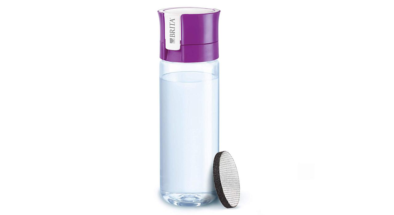 """For those not keen on sipping tap water, worry not. This water bottle features an integrated activated carbon filtration system that filters your water as you drink. Each microdisc lasts a month and are replaceable. <a href=""""https://www.amazon.co.uk/BRITA-Filter-Bottle-Microdisc-Lasting/dp/B01F3P14ZQ?tag=yahooukedit-21 """"><strong>Buy now.</strong></a>"""