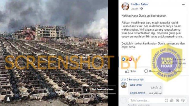 Fakta atau Hoax: Foto Ribuan Mobil Impor Hangus di Pelabuhan Beirut