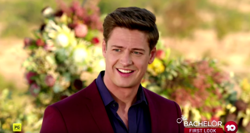 Matt Agnew is seen here in the garden wearing a burgundy blazer during the finale of Australia's The Bachelor