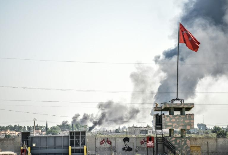 Shelling from Syria rained down on Akcakale on the second day of Turkey's offensive against Kurdish forces