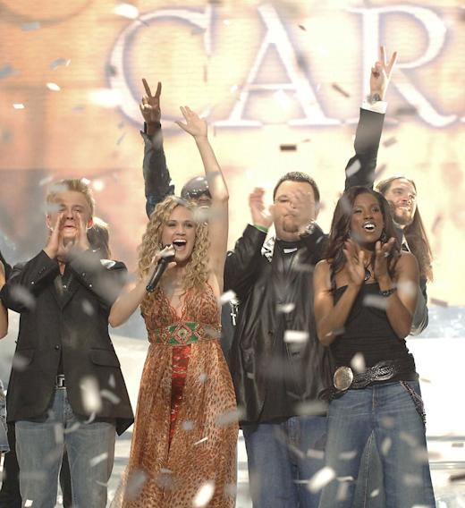 "Carrie Underwood is named the winner of season 4 of ""American Idol."""