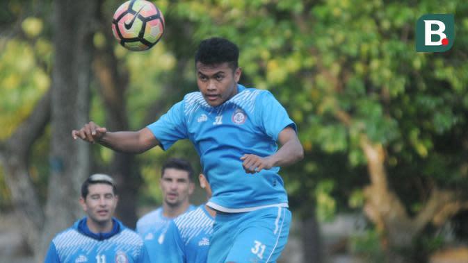 Junda Irawan, pemain yang membela Arema FC pada musim 2015 hingga 2017. (Bola.com/Iwan Setiawan)